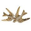 Gold Plated Crystal Double Swallow Brooch - 70mm Width