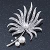 Large Rhodium Plated Clear Crystal, Simulated Glass Pearl 'Palm Leaf' Brooch - 70mm Length