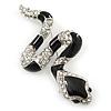Black Enamel, Clear Crystal 'Snake' Brooch In Rhodium Plating - 55mm Length