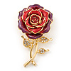 Red/Violet Enamel Crystal 'Rose' Brooch In Gold Plating - 60mm Length