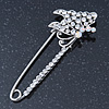 Rhodium Plated Crystal 'Butterfly' Safety Pin - 75mm Length