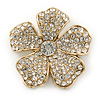 Gold Plated Clear Swarovski Crystal 'Flower' Brooch - 45mm Across