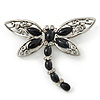 Silver Tone Filigree With Black Stone 'Dragonfly' Brooch - 70mm Width