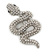 Clear Austrian Crystal 'Snake' Brooch In Silver Tone Plating - 65mm Length