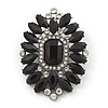 Victorian Style Black, Clear Acrylic Stone Oval Brooch In Gun Metal - 50mm Length