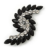 Victorian Style Black, Clear Acrylic Stone 'Leaf' Brooch In Gun Metal - 65mm Length