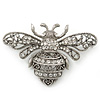 Large Silver Tone Filigree, Swarovski Crystal 'Bumble Bee' Brooch - 70mm Width