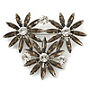 Grey, Clear Triple Flower Corsage Brooch In Silver Tone - 75mm Across