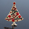 Red, Green Austrian Crystals Christmas Tree Brooch In Gold Plating - 50mm Length