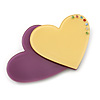 Purple/ Yellow Austrian Crystal Double Heart Acrylic Brooch - 70mm Across