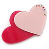 Deep Pink/ Baby Pink Austrian Crystal Double Heart Acrylic Brooch - 70mm Across
