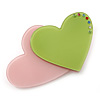 Baby Pink/ Lime Green Austrian Crystal Double Heart Acrylic Brooch - 70mm Across