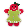 Magenta/ Lime Green Austrian Crystal Acrylic 'Gingerbread Girl' Brooch - 50mm Length