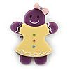 Purple/ Bright Yellow Austrian Crystal Acrylic 'Gingerbread Girl' Brooch - 50mm Length