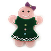 Baby Pink/ Dark Green Austrian Crystal Acrylic 'Gingerbread Girl' Brooch - 50mm Length