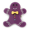 Purple Austrian Crystal Acrylic 'Gingerbread Man' Brooch - 45mm Length