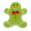 Lime Green Austrian Crystal Acrylic 'Gingerbread Man' Brooch - 45mm Length