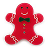 Magenta Austrian Crystal Acrylic 'Gingerbread Man' Brooch - 45mm Length