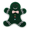 Dark Green Austrian Crystal Acrylic 'Gingerbread Man' Brooch - 45mm Length