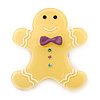 Bright Yellow Austrian Crystal Acrylic 'Gingerbread Man' Brooch - 45mm Length