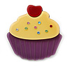 Bright Yellow/ Purple Austrian Crystal Acrylic 'Cupcake' Pin Brooch - 40mm Across