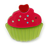 Magenta/ Lime Green Austrian Crystal Acrylic 'Cupcake' Pin Brooch - 40mm Across