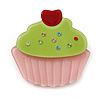 Baby Pink/ Lime Green Austrian Crystal Acrylic 'Cupcake' Pin Brooch - 40mm Across