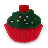 Magenta/ Dark Green Austrian Crystal Acrylic 'Cupcake' Pin Brooch - 40mm Across
