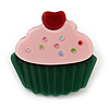 Dark Green/ Baby Pink Austrian Crystal Acrylic 'Cupcake' Pin Brooch - 40mm Across