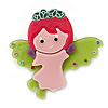 Baby Pink/ Lime Green/ Magenta Austrian Crystal, Acrylic 'Little Angel' Brooch - 50mm Length
