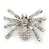 Clear, AB Crystal Spider Brooch In Rhodium Plating - 37mm Width