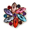 Multicoloured Glass Bead Flower Brooch In Gold Plating - 55mm Diameter