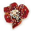 Red, AB, Clear Austrian Crystal Poppy Flower Brooch/ Pendant In Gold Plated Metal - 35mm