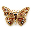 Small Brown, Champagne, Milky White  Austrian Crystal Butterfly Brooch In Gold Plating - 35mm Length