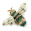 Classic Teal/ Clear Austrian Crystal Bee Brooch/ Pendant In Gold Plating - 45mm Width