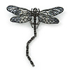 Black, Grey Austrian Crystal Dragonfly Brooch With Moving Tail In Black Tone Metal - 80mm Length