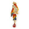 Small Multicoloured Austrian Crystal Parrot Bird Brooch In Gold Plating - 55mm L