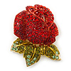 Burgundy Red, Green Swarovski Crystal 3D Rose Brooch/ Pendant In Gold Plating - 45mm Across