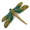 Large Green, Olive Austrian Crystal Dragonfly Brooch/ Pendant With Moving Tail In Antique Gold Metal - 90mm Width
