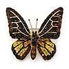Small Brown, Black, Lemon Yellow, Orange Austrian Crystal 'Monarch' Butterfly Brooch In Gold Plating - 30mm Length