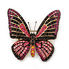 Fuchsia, Pink, Black, Orange Austrian Crystal Butterfly Brooch In Gold Plating - 50mm Length
