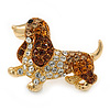 Small Austrian Crystal Coсker Spaniel Dog Brooch In Gold Plating - 35mm L