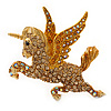 Stunning Austrian Crystal 'Unicorn' Brooch In Antique Gold Tone (AB, Orange, Light Topaz Colours) - 50mm Length