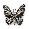 Small Black, Hematite, Clear Austrian Crystal Butterfly Brooch In Rhodium Plating - 30mm Length