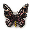 Small Black, Orange, Purple, Lavender Austrian Crystal Butterfly Brooch In Bronze Tone Metal - 30mm Length