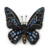 Small Black, Orange, Blue Austrian Crystal 'Monarch' Butterfly Brooch In Black Tone Metal - 30mm Length