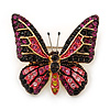 Small Black, Fuchsia, Pink, Orange Austrian Crystal Butterfly Brooch In Gold Plating - 30mm Length