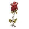 Small Red, Green Austrian Crystal 'Rose' Brooch In Rhodium Plating - 43mm L