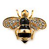 Small Black Enamel Crystal 'Bee' Brooch In Gold Plating - 35mm Across