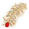 Large Exotic Clear Crystal, Red Cz 'Feather' Brooch In Gold Plating - 95mm Length